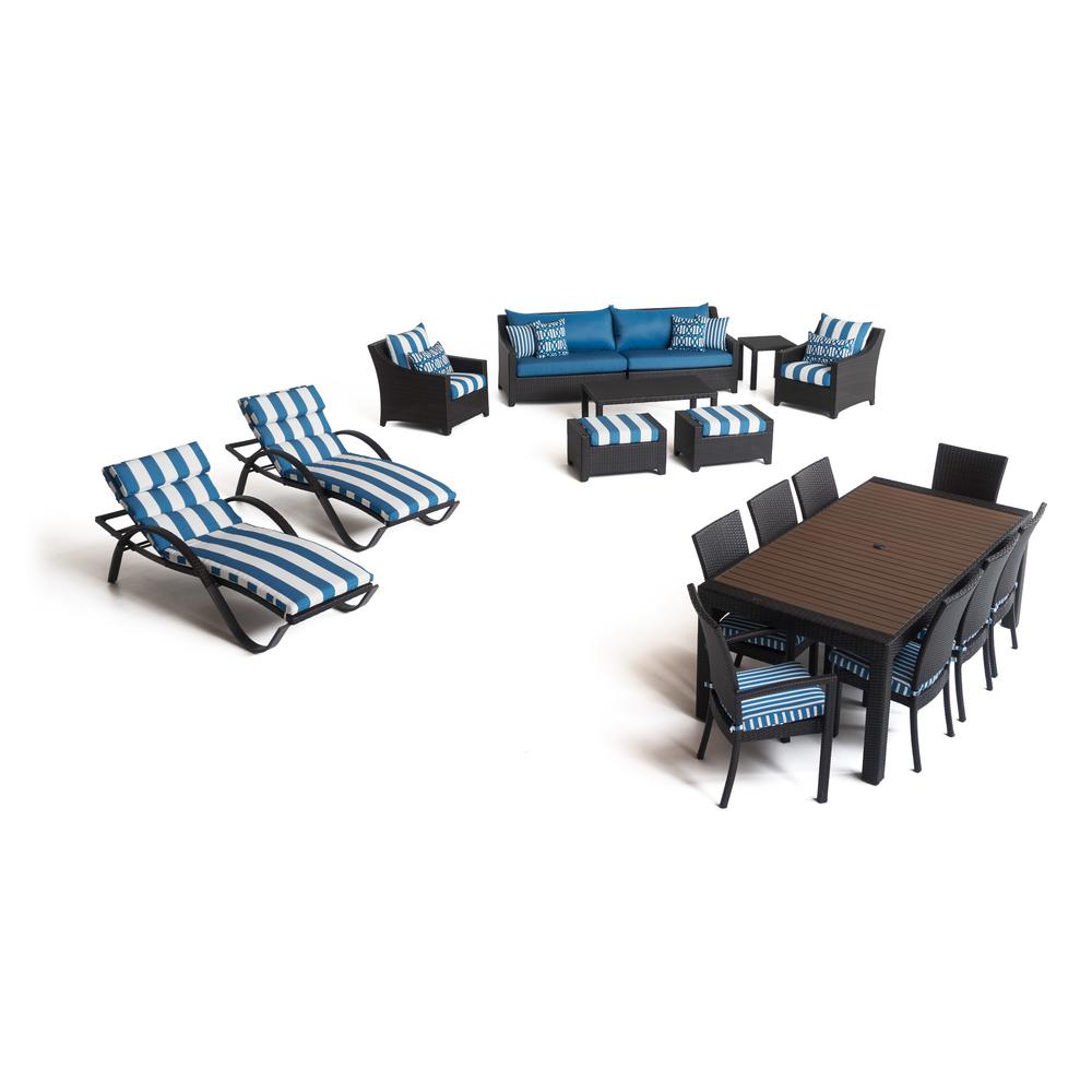 RST Brands Deco Estate 19-Piece Wicker Patio Conversation Set with Sunbrella Regatta Blue Cushions