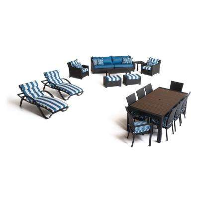 Deco Estate 19-Piece Wicker Patio Conversation Set with Sunbrella Regatta Blue Cushions