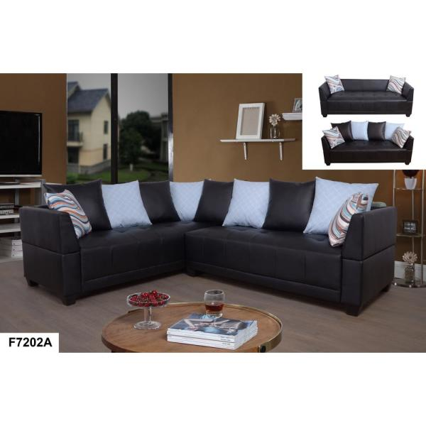 2-Piece Brown Faux Leather Right Sectional Sofa Set