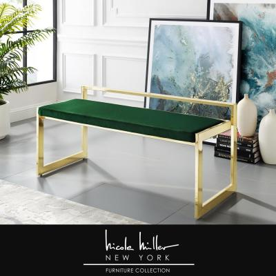 Ledger Green/Gold Velvet Bench with Metal Frame