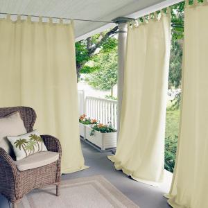Semi-Opaque Matine Ivory Indoor/Outdoor Window Curtain Panel - 52 inch W x 95...