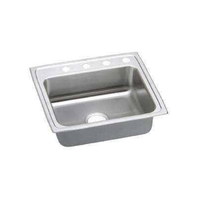 Celebrity Drop-In Stainless Steel 25 in. 4-Hole Single Bowl Kitchen Sink with 7.5 in. Bowl