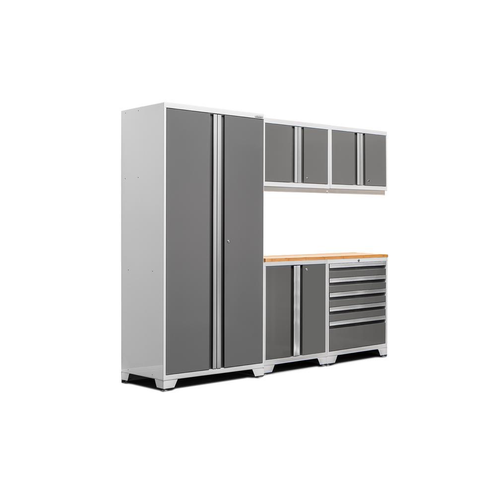 Pro 3.0 83.25 in. H x 92 in. W x 24 in. D 18-Gauge Welded Steel Bamboo Worktop Cabinet Set in Platinum (6-Piece)