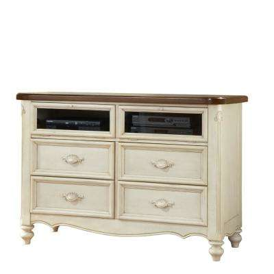 Etonnant Chateau White 4 Drawer Entertainment Center