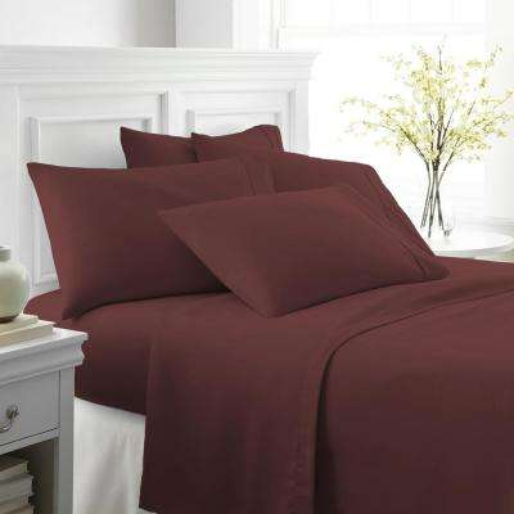 Performance Burgundy Full 6-Piece Bed Sheet Set