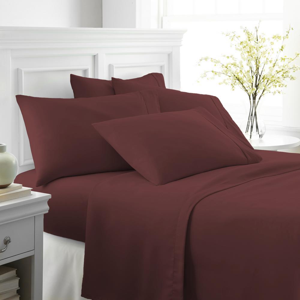 Becky Cameron Performance Burgundy Twin XL 6 Piece Bed Sheet Set