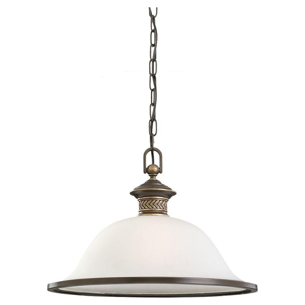 Sea Gull Lighting Laurel Leaf 1-Light Estate Bronze Pendant