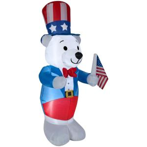 27.17 in. W x 30.32 in. D x 72.05 in. H Inflatable Airblown Fourth of July White Bear