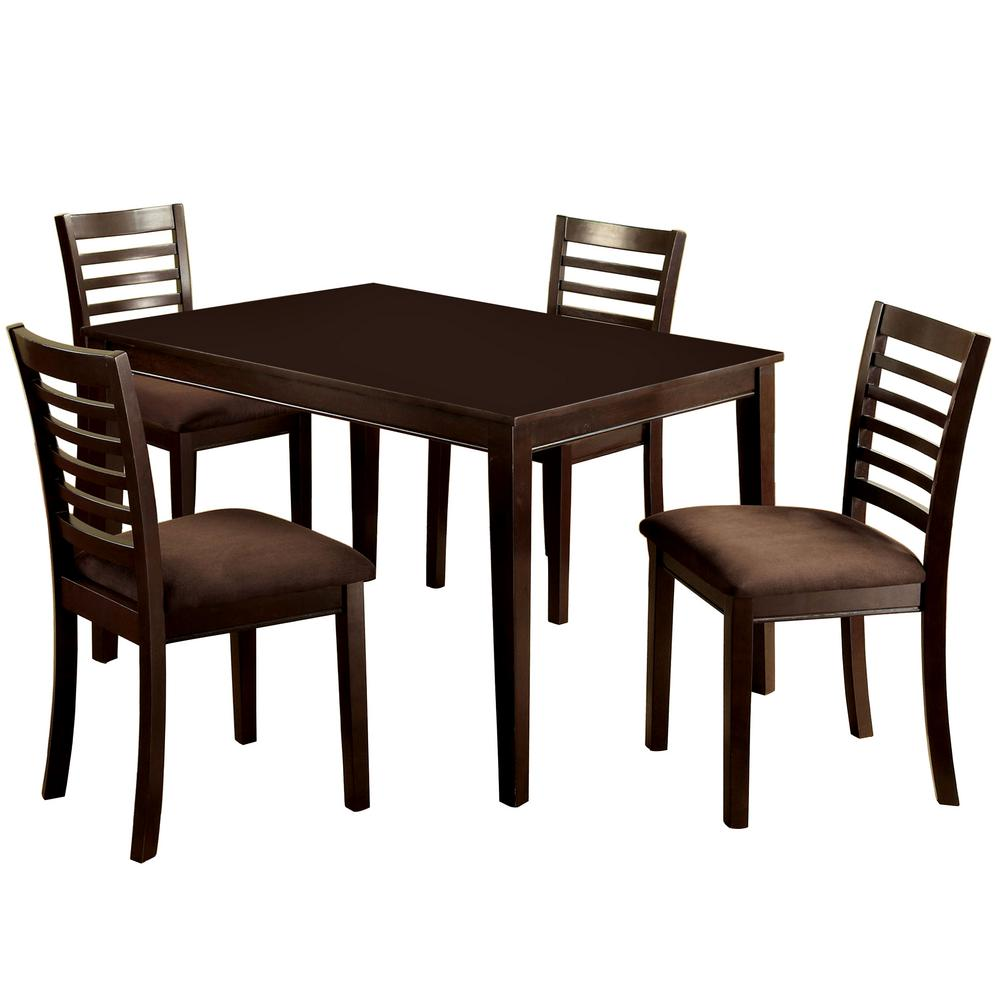 Whitley Cappuccino 5 Piece Dinette Set: Venetian Worldwide Eaton I 5-Piece Espresso Dining Set