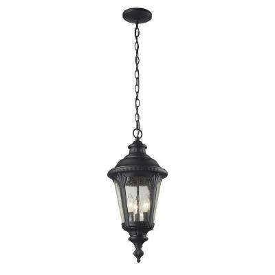 Lawrence 3-Light Outdoor Black Incandescent Hanging Pendant