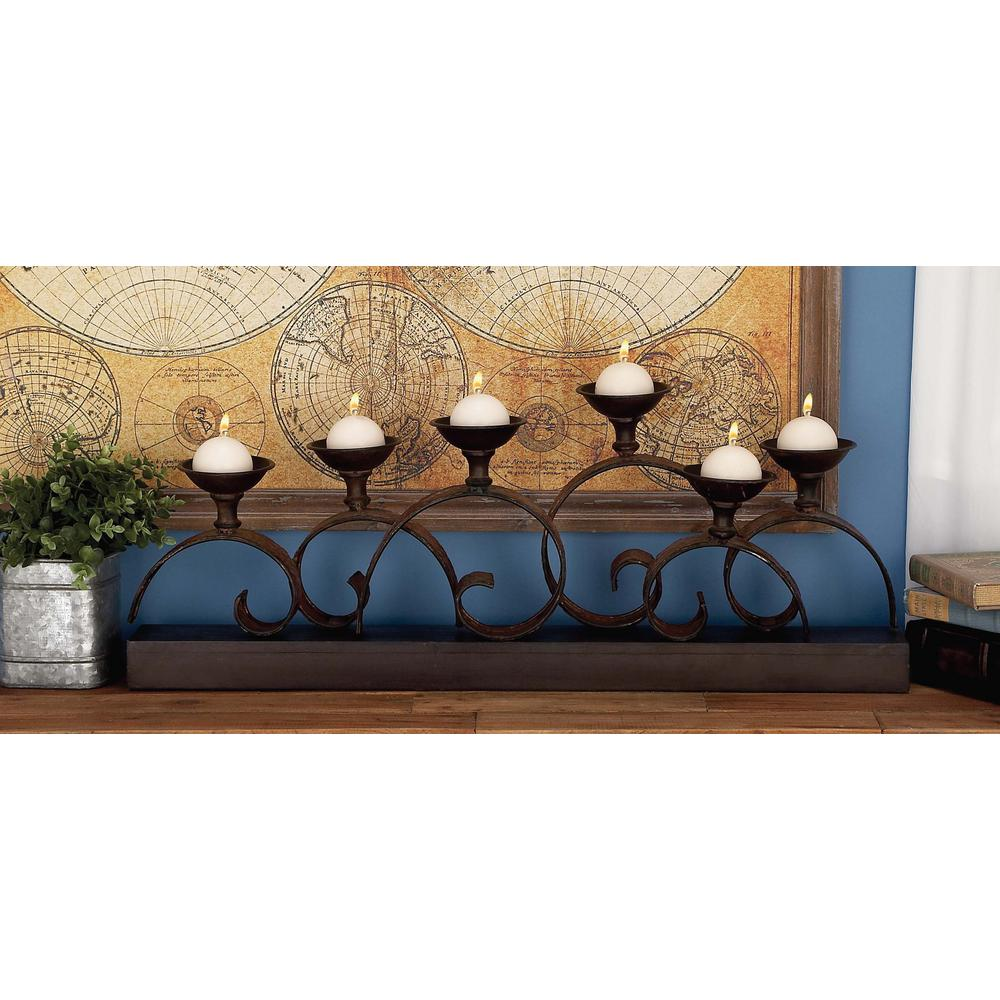 13 in. New Traditional 6-Light Curled Iron Candelabra