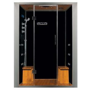 Steam Planet Galaxy Deluxe Plus 59 inch x 40 inch x 84 inch Steam Shower Enclosure Kit with 4.2kw Generator in Black by Steam Planet