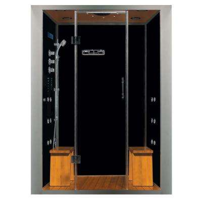Galaxy Deluxe Plus 59 in. x 40 in. x 84 in. Steam Shower Enclosure Kit with 4.2kw Generator in Black