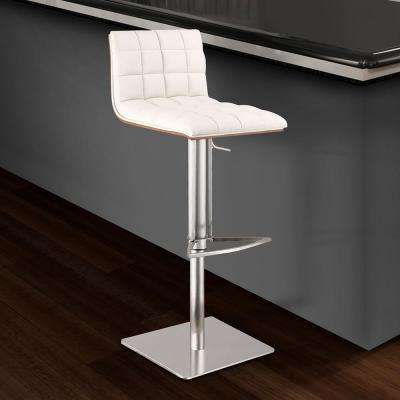 Oslo 31 in. White Faux Leather and Brushed Stainless Steel Finish Adjustable Barstool