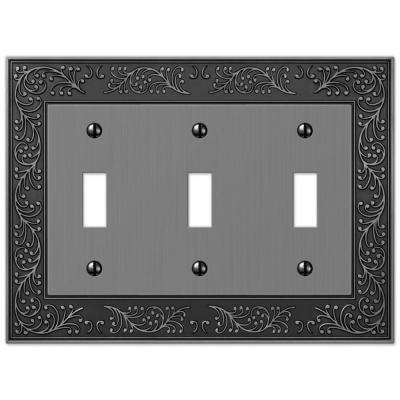 English Rose 3 Toggle Wall Plate - Antique Nickel