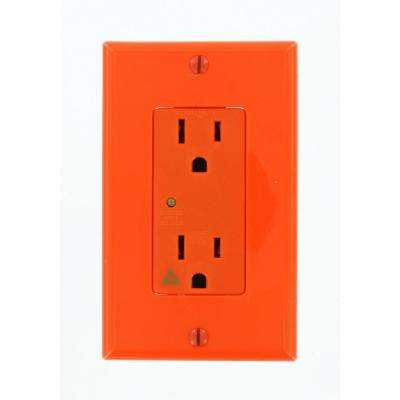 Decora Plus 15 Amp Industrial Grade Isolated Ground Duplex Surge Outlet, Orange