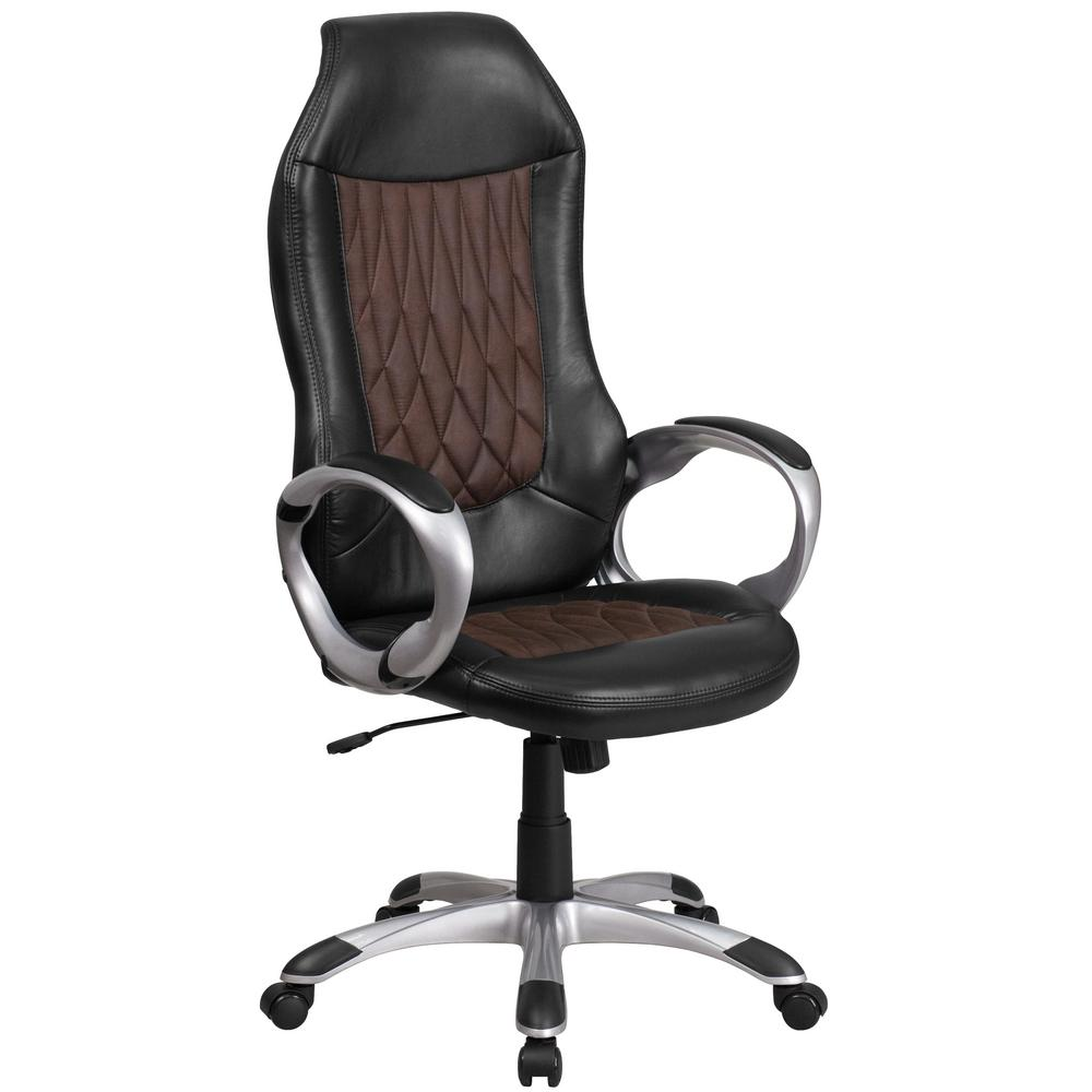 Flash Furniture Black And Brown Fabric Vinyl Office Desk Chair