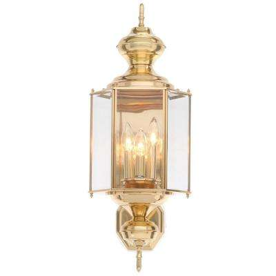 BrassGUARD Collection 3-Light Polished Brass Outdoor Wall Lantern