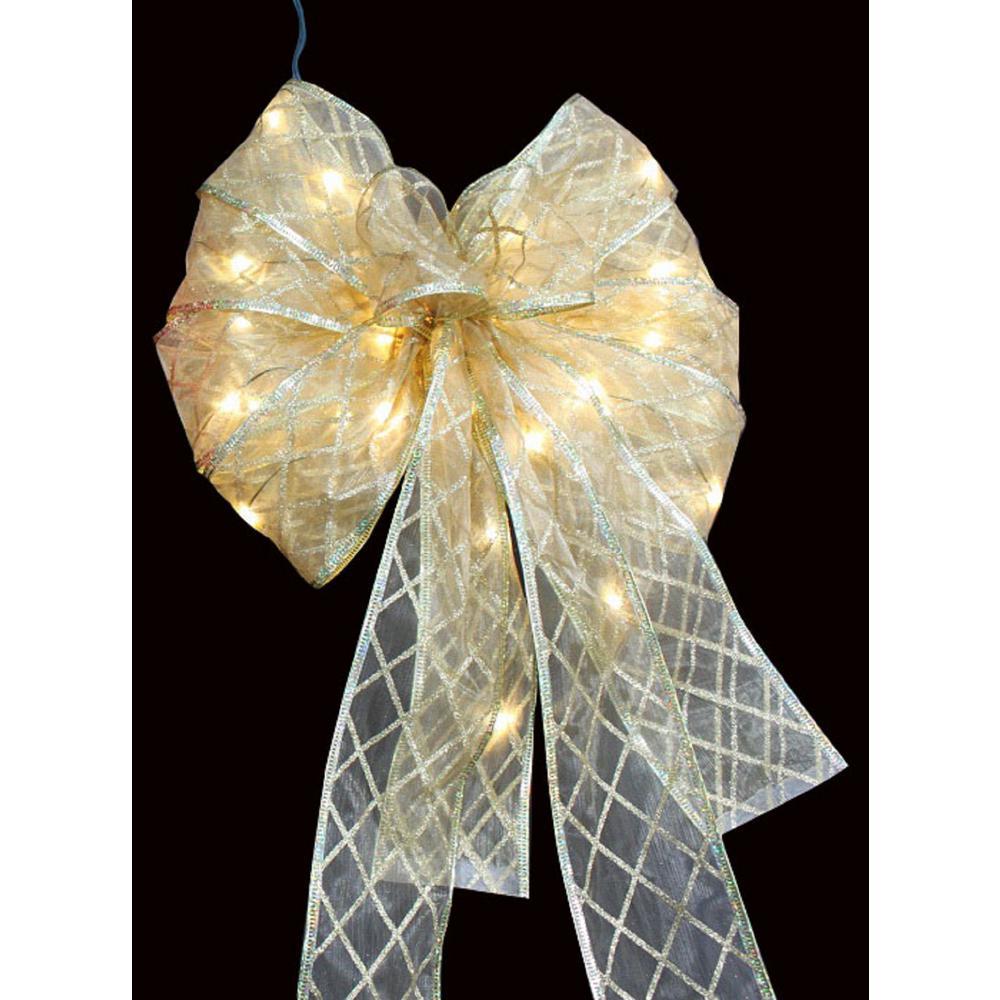 36-LED Ribbon Bow Tree Topper Gold