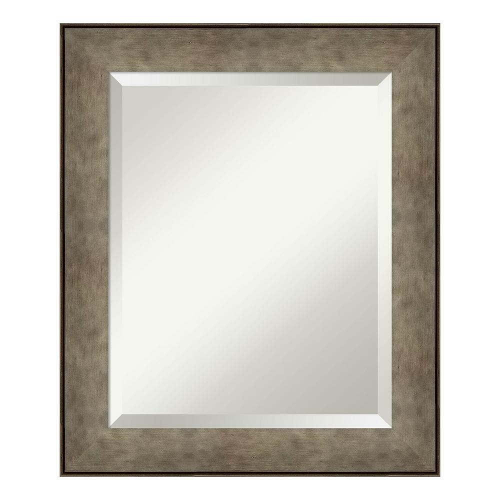 Amanti Art Pounded Metal Silver Bathroom Vanity Mirror DSW4093834