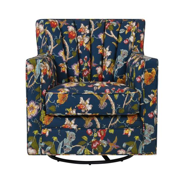 Handy Living Zahara Navy Blue Multi Floral Linen Swivel Arm Chair