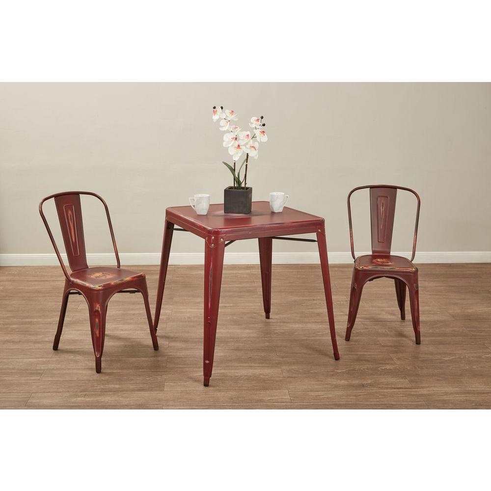 OSP Designs Bristow Antique Red Metal Side Chair (Set of 2) - OSP Designs Bristow Antique Red Metal Side Chair (Set Of 2)-BRW29A2