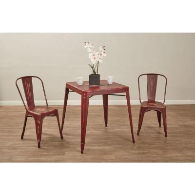 Bristow Antique Red Metal Side Chair (Set of 2)