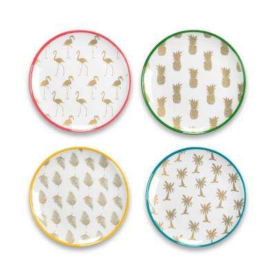 Tropical Gold Accents Assorted Salad Plates (Set of 4)
