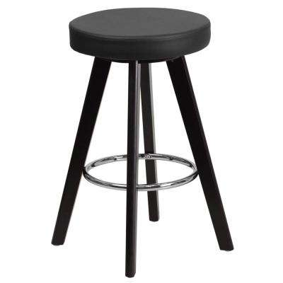 24.25 in. Black and Cappuccino Cushioned Bar Stool
