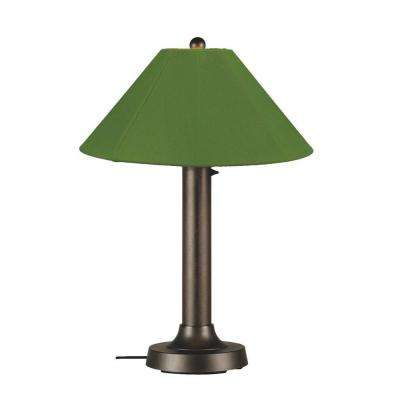 Catalina 34 in. Bronze OutdoorTable Lamp with Palm Shade