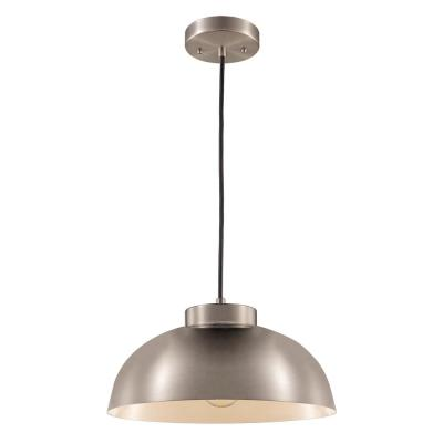 1-Light Brushed Nickel Industrial Pendant with Metal Shade