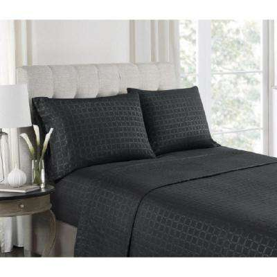 4 Piece Black Embossed Microfiber Queen Sheet Set