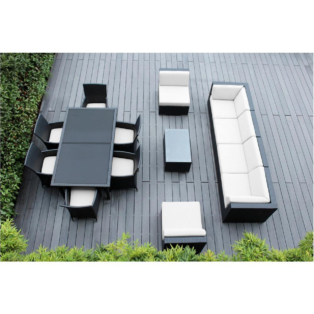 Black 14-Piece Wicker Patio Combo Conversation Set with Sunbrella Natural Cushions