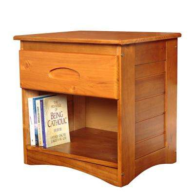 Solid Pine with One Drawer and Open Storage in Honey Nightstand