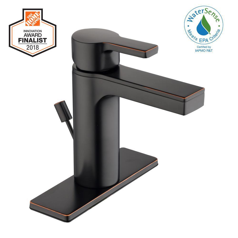 Glacier Bay Modern Contemporary Single Hole Single-Handle Low-Arc Bathroom  Faucet in Bronze