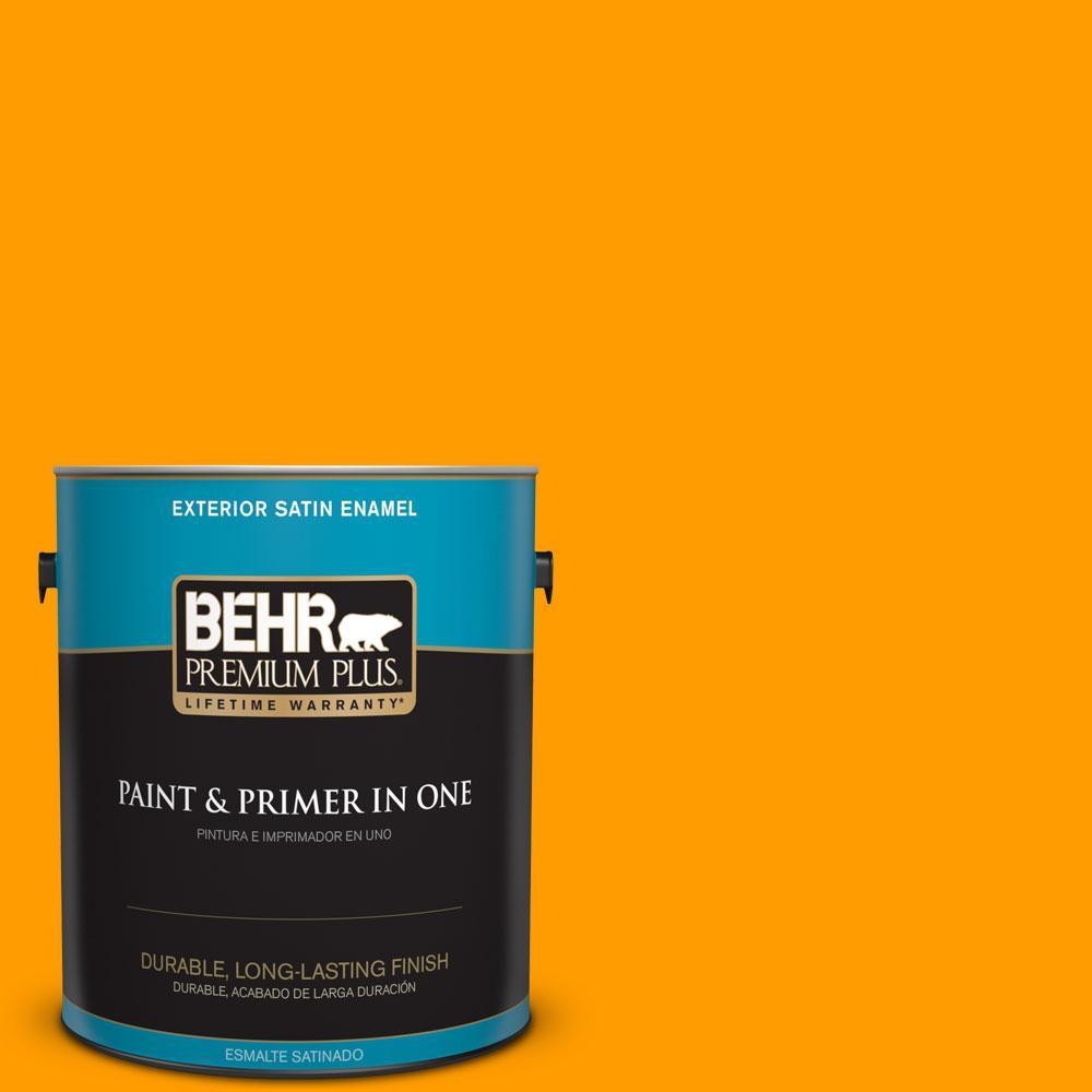 BEHR Premium Plus 1-gal. #S-G-290 Orange Peel Satin Enamel Exterior Paint