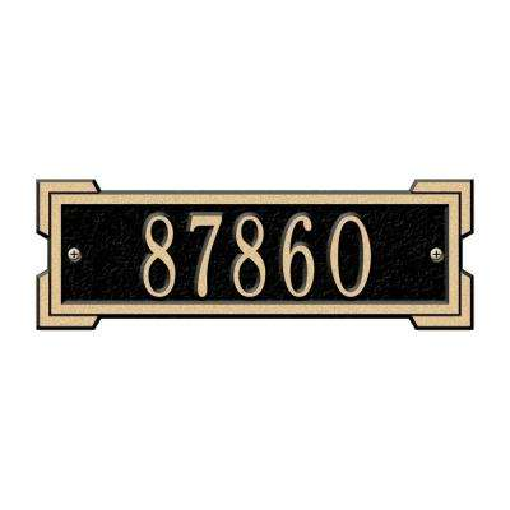 Rectangular Roanoke Petite Wall 1-Line Address Plaque - Black/Gold