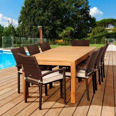 Densmore 9-Piece Teak Rectangular Patio Dining Set with Off-White Cushions