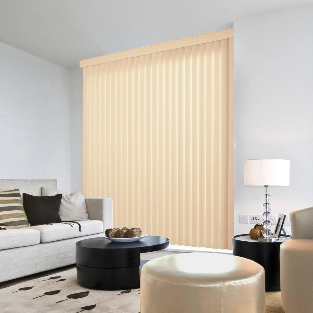 Hampton Bay 3.5 in. W x 70 in. L Crown Ivory 3.5 in. Vertical Blind/Louver Set (9-pack)