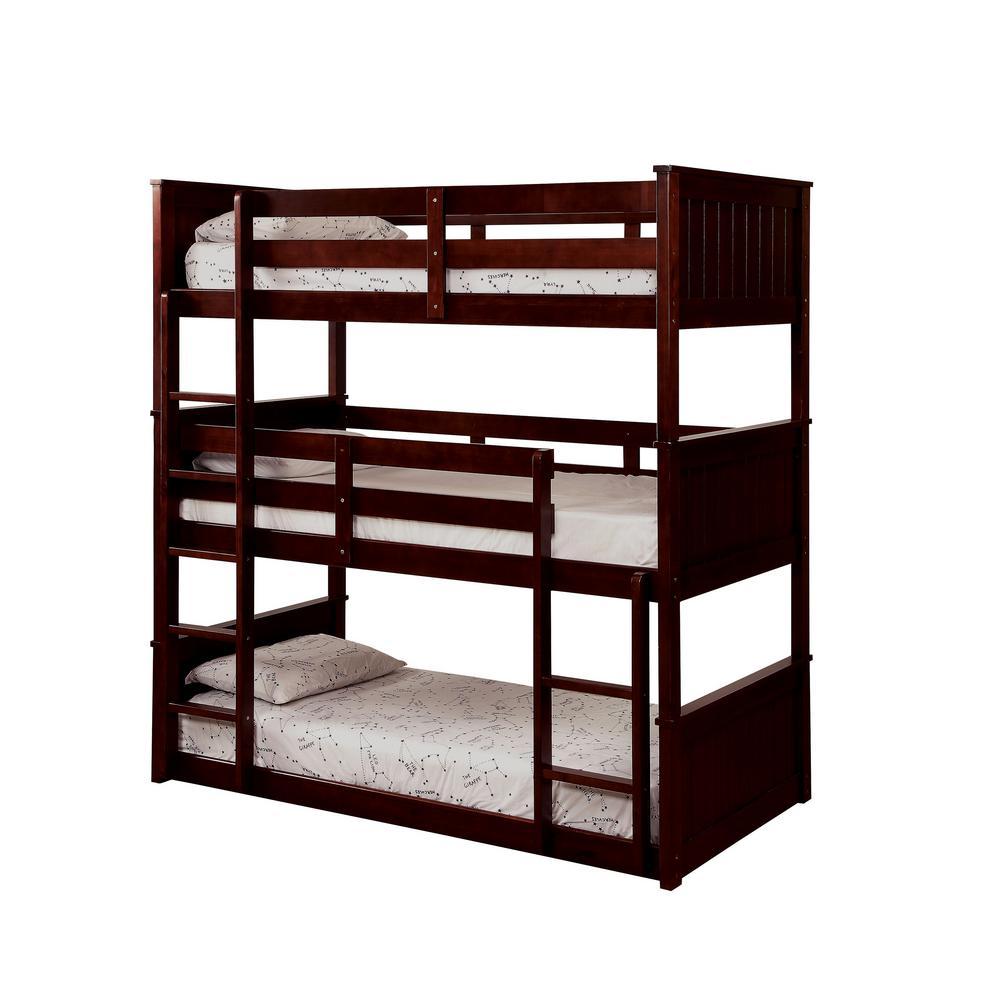 Therese in Dark Walnut Twin Triple Decker Bed