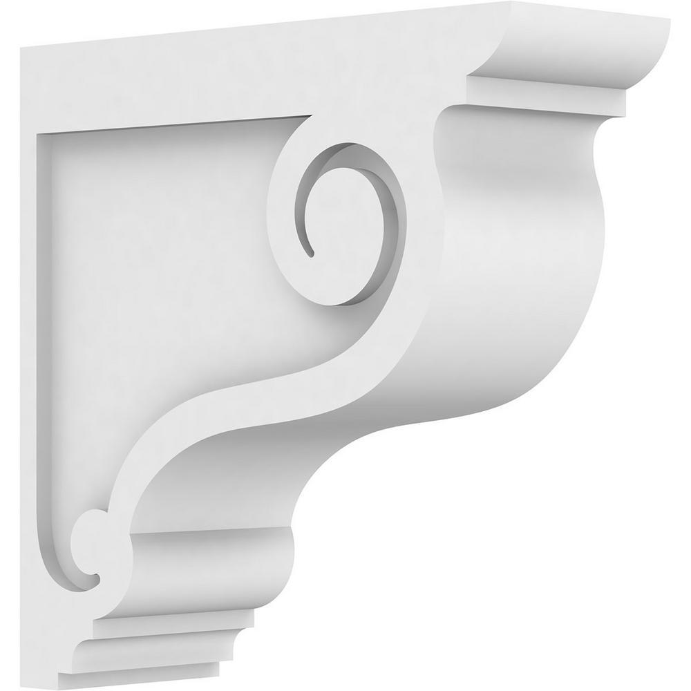 3 in. x 12 in. x 12 in. Standard Scroll Architectural Grade PVC Corbel