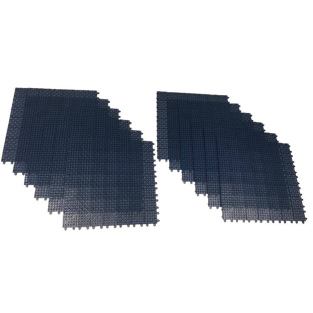 Blue Regenerated 22 in. x 22 in. Polypropylene Interlocking Floor Mat System (Set of 12 Tiles)