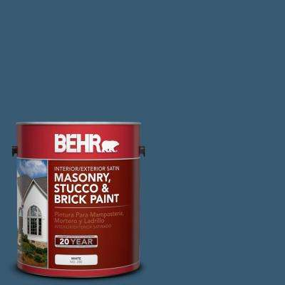 1 gal. #S490-7 Superior Blue Satin Interior/Exterior Masonry, Stucco and Brick Paint