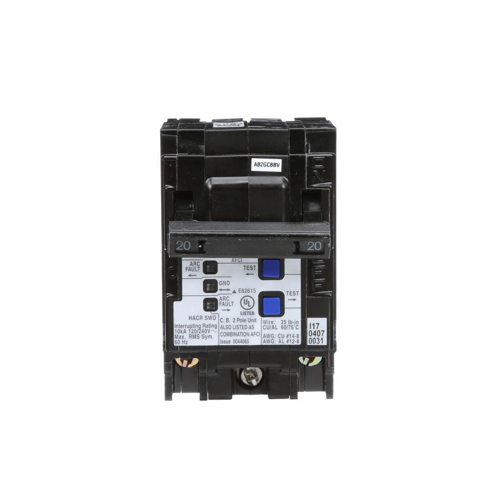 Siemens 20 Amp Double Pole Wireguide Afci Circuit Breaker Q220afcwg Arc Fault Breakers