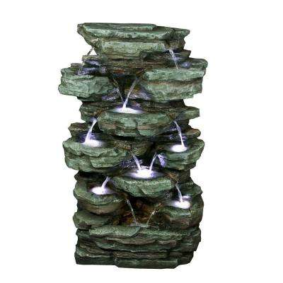 39 in. Tiered Rock Rainforest Fountain with White LED Lights
