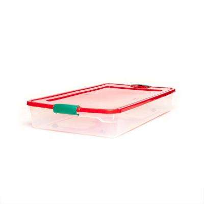60 qt. Plastic Under Bed Holiday Storage Box with Wheels, Clear/Red (4-Pack)
