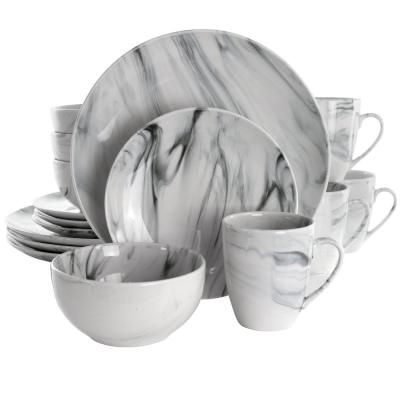 16-Piece Fine Marble Black and White Stoneware Dinnerware Set (Service for 4)