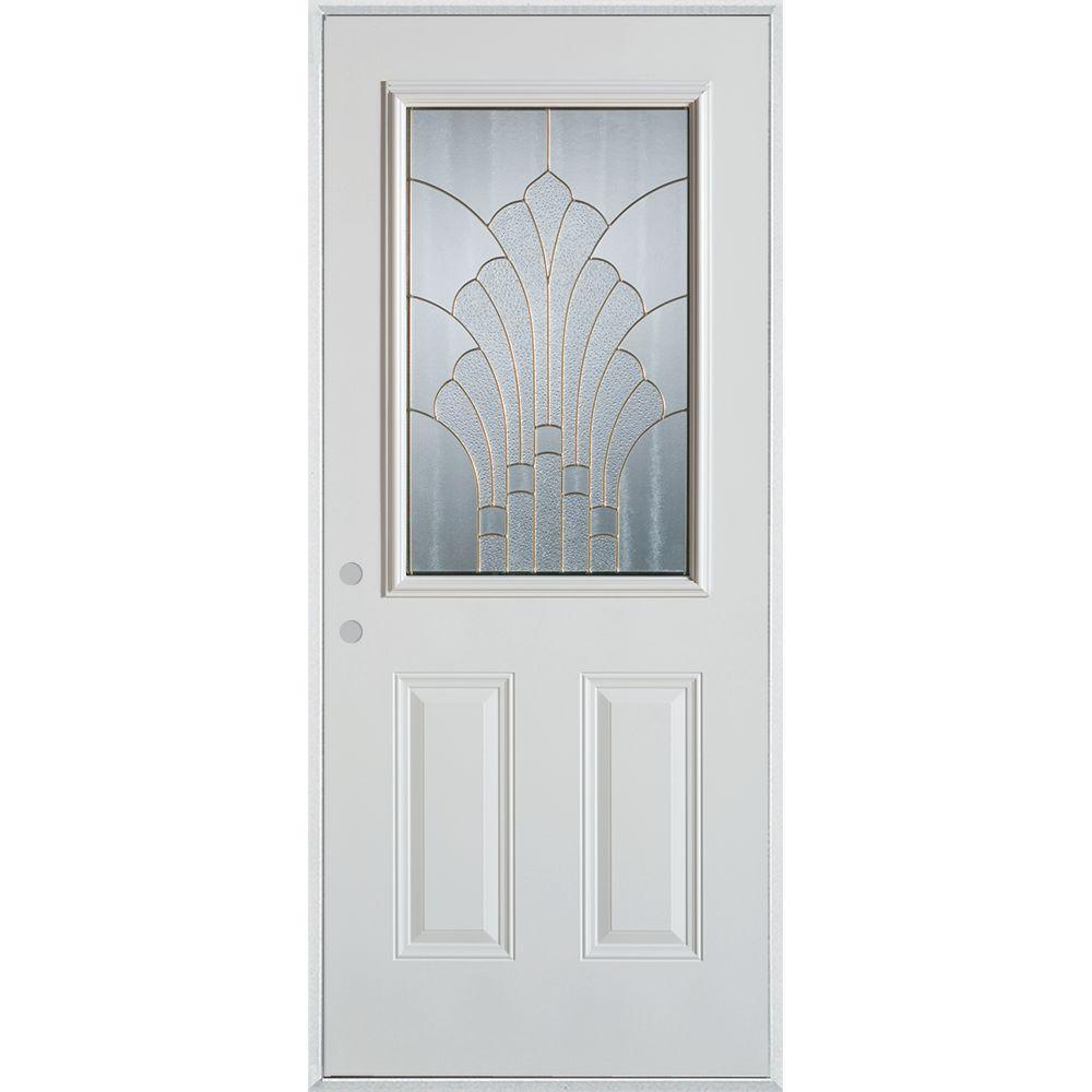 33.375 in. x 82.375 in. Art Deco 1/2 Lite 2-Panel Painted White Steel Prehung Front Door