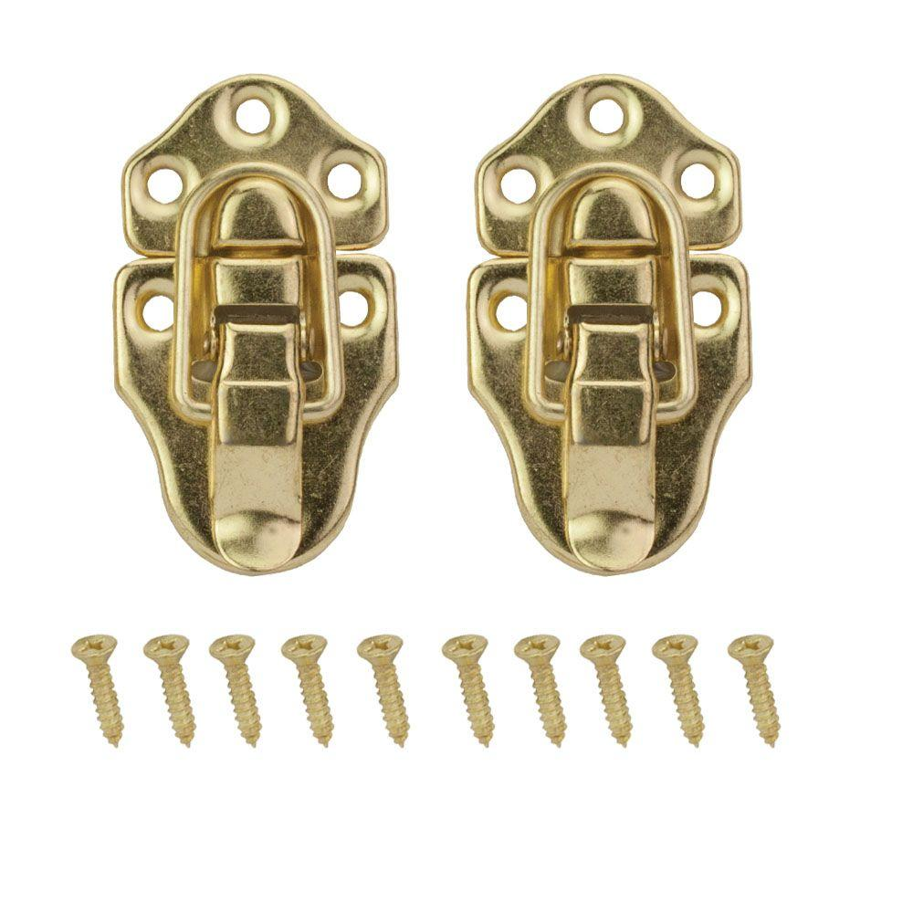 Everbilt 2-3/4 in. x 1-1/2 in. Bright Brass Chest Latches-19864 ...