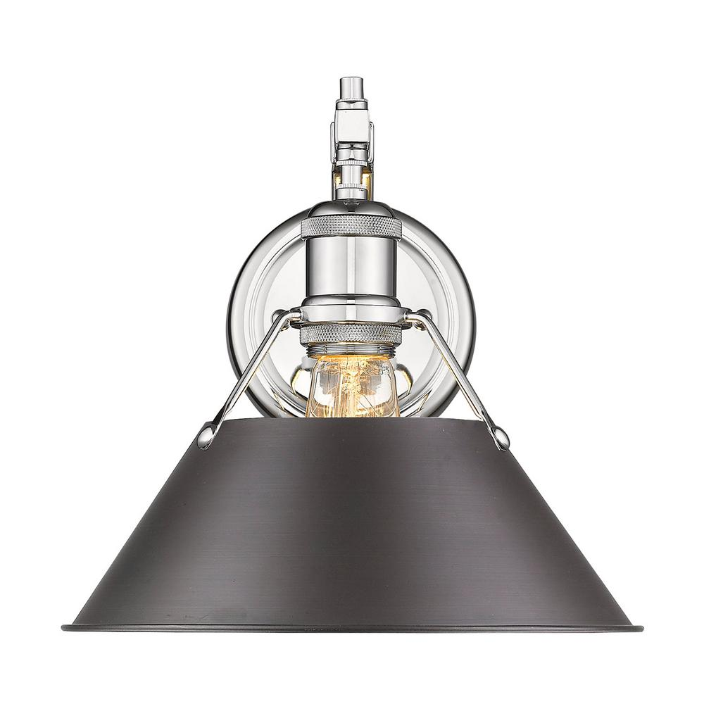 Golden Lighting Orwell 1-Light Chrome with Rubbed Bronze Shade Wall Sconce